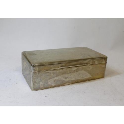 28 - Silver cigarette box with cushion cover, plain, Birmingham 1940.