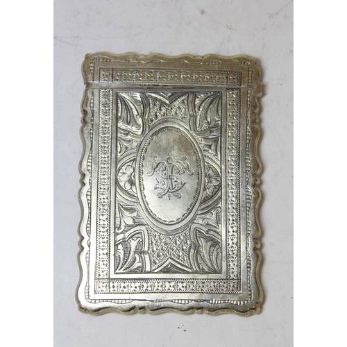 30 - Silver engraved card case monogrammed and dated 1873 by George Unite, Birmingham 1873, 88g.