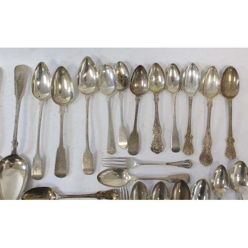 39 - Quantity of fiddle pattern and other silver flatware, mostly Scottish 19th century, approx. 1500g.