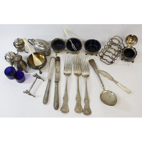 40 - Embossed silver circular salt, 1863, eight other condiments and various other items, some e.p.