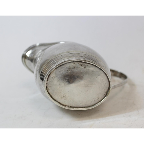 44 - Silver cream jug of ovoid shape with initialled cartouche and pin struck bands by William Hall, 1797...