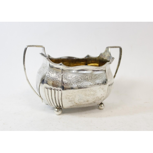 45 - Silver sugar bowl of ovoid shape, engraved and part fluted, probably by 'Thomas Wallace', 1808, 9oz ...