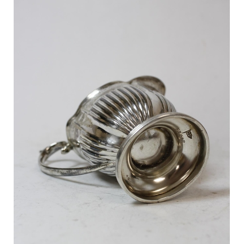 47 - Silver cream jug of quatrefoil oval shape by Walker & Hall, Sheffield 1898, 4oz / 125g.