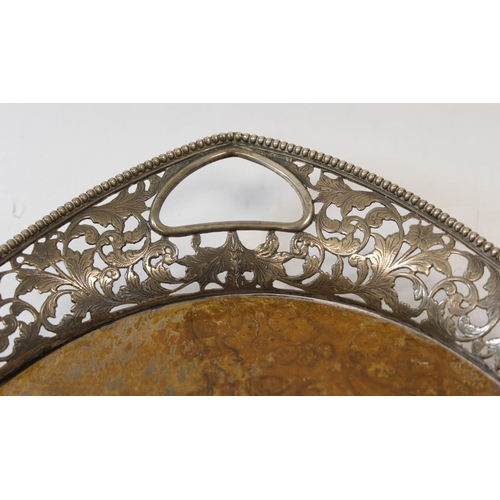 53 - Dutch burr walnut oval tray with pierced and engraved silver gallery, Import Marks, 1908, 50cm.