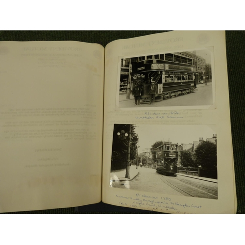 50 - Tram Cars.Manuscript account in a ring binder of Glasgow trams, c.1950's, with pasted-in...