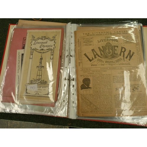 51 - Liverpool Theatres.A ring binder of programmes & ephemera relative to Liverpool thea...