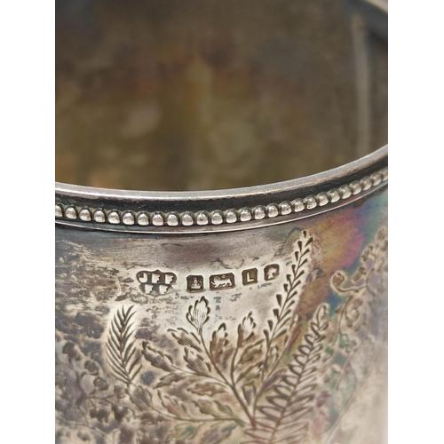 13 - Silver engraved sugar bowl and milk jug, Edinburgh 1919 and Sheffield 1878, 372g.
