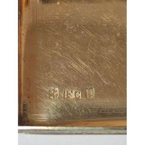 29 - Silver rectangular snuff box, reeded with engine turned base and border '...Mr Lee of Brampton solic...