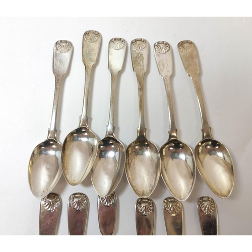 33 - Set of twelve silver tea spoons, fiddle and shell, by William Lister, Newcastle 1823, 7oz / 218g.