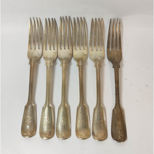 37 - Set of twelve silver table forks, fiddle and thread, crested, by George Adams 1874, 1094g.