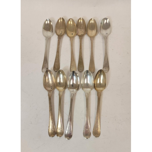 41 - Service of thread pattern silver flatware, initialled J.K., mostly by Eley & Fearn, 1802, compri...