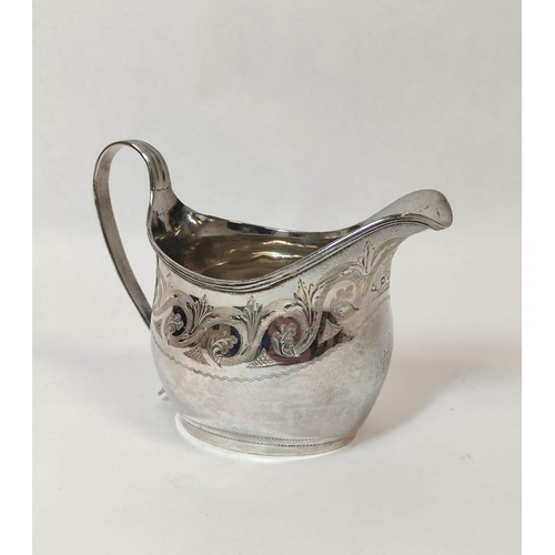 42 - Silver cream jug of ovoid shape engraved with scrolls by P & W Bateman, 1812, 93g.