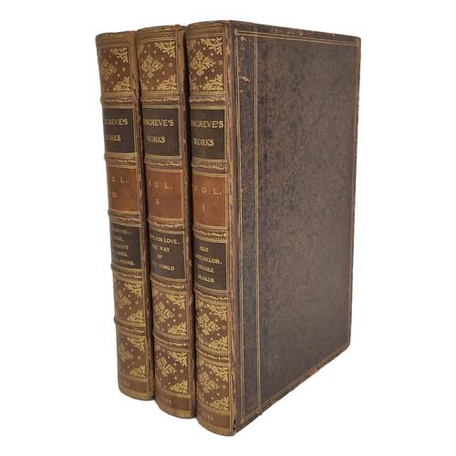 CONGREVE WILLIAM.The Works. 3 vols. Eng. port. frontis & plates. Larger 8vo. Mottled calf extra, some wear & rubbing. Birmingham, John Baskerville, 1761.