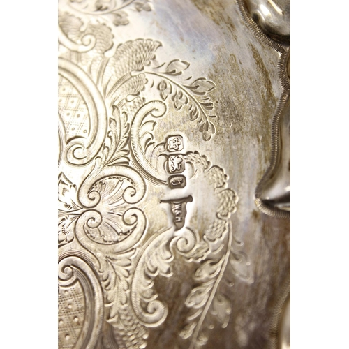 16 - Silver engraved waiter with scroll border by Walker & Hall, Sheffield 1900, 22cm, 12 1/2oz / 390...