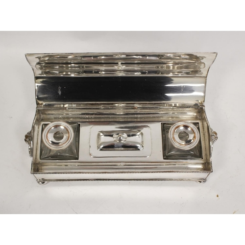 58 - Silver on copper inkstand with two receivers, a silver bracelet and a caster (3)