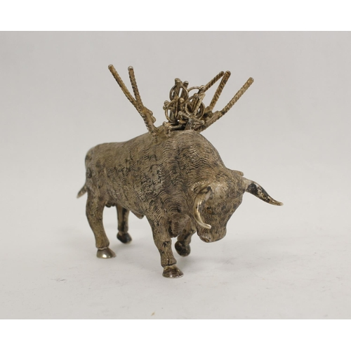 60 - Spanish silver cocktail stick holder modelled as a bull with muleta and swords 'Sterling 925' 16cm. ...