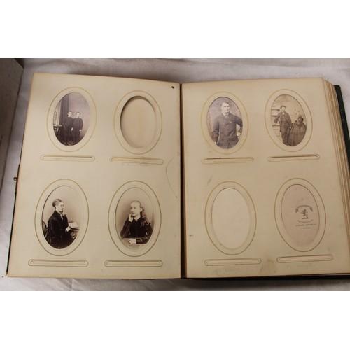34 - Victorian Photographs. Three19th cent. albums, part filled with carte de visite portrait photograp...