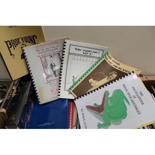 45 - Magic & Conjuring.A carton of books & quarto softback & ring bound publicati...