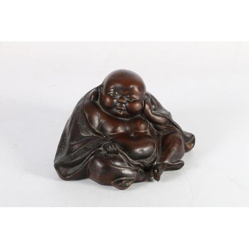 10 - Chinese model of Pu Tai with Shunga decoration to base, 11cm