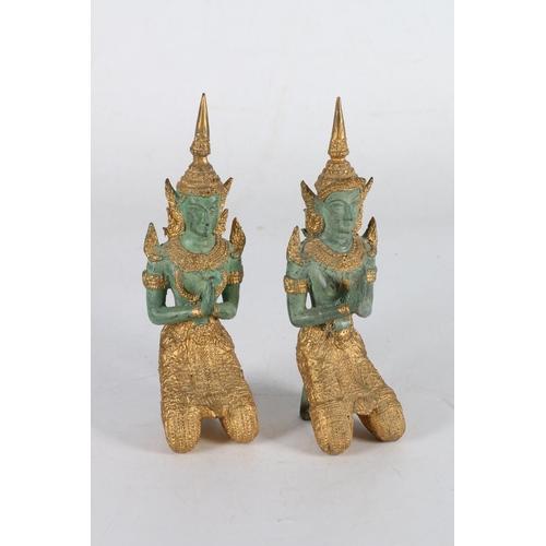 11 - Pair of Thai Buddha style figures, 22cm