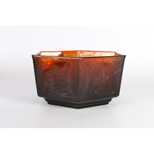16 - Octagonal moulded glass bowl decorated with kingfishers, 24.5cm