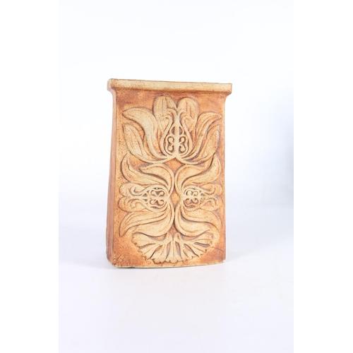 29 - Studio Pottery slab vase with relief foliate decoration, glazed interior, 22cm