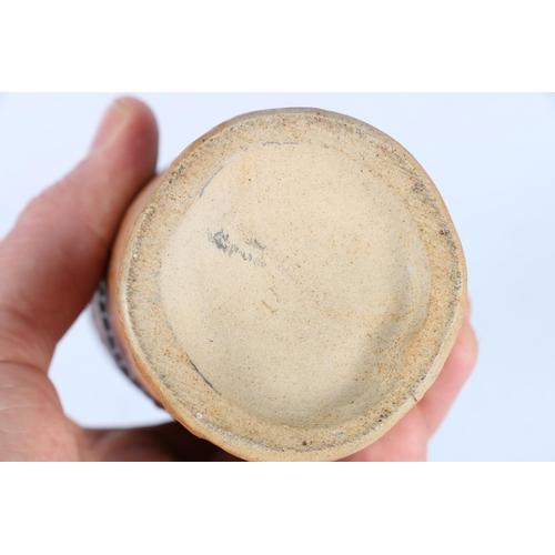 30 - Studio Pottery cylindrical vase with geometric band decoration, indistinctly signed, 19cm