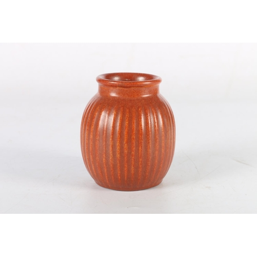 34 - Red ground reeded ovoid vase by Michael Anderson & Son of Bornholm, Denmark, mark to base, 11cm