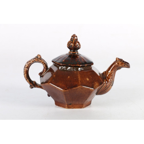 37 - Small 19th century treacle glazed teapot, Sothebys 'The Iris Fox Collection' label to base, 11cm