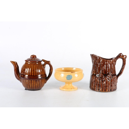 38 - Treacle glazed cream jug, 10cm, treacle glazed teapot, 9.5cm and a small dish, 5.5cm, possibly Belfi...