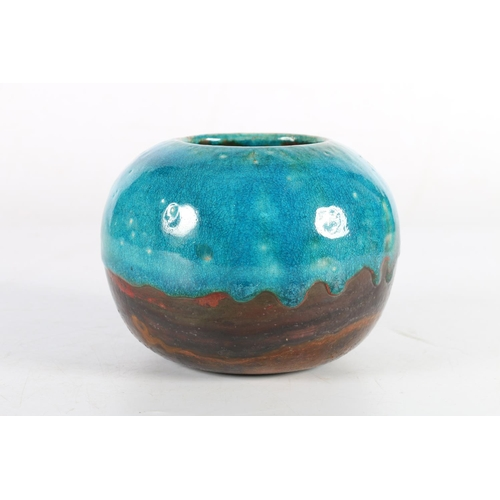 41 - Studio Pottery vase with partial blue drip glaze, signed 'Chris' to base, 11cm