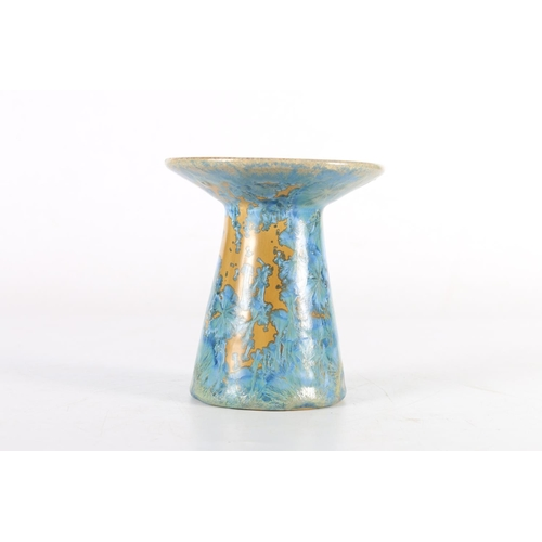 47 - Tapering crystalline vase with wide flaring rim, 11cm