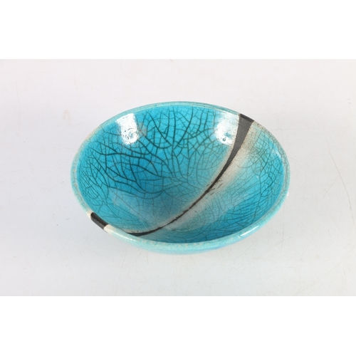 50 - Blue crackleware bowl with basalt stripe decoration, relief lozenge with indistinct makers mark, 14....