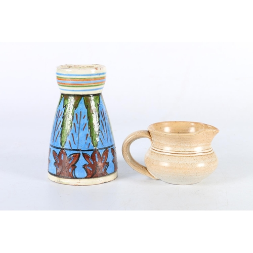 51 - Small Studio Pottery jug signed St Nectans and a Scottish hand-painted Studio Pottery vase, 12.5cm