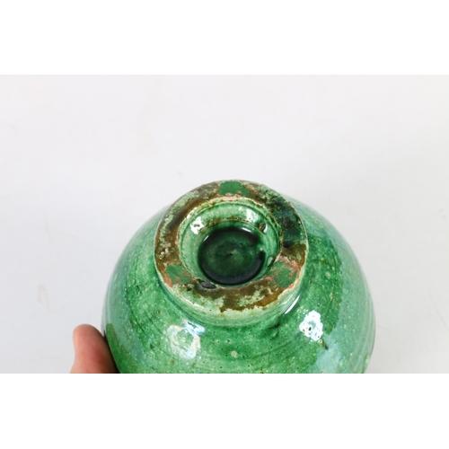 52 - Green Studio Pottery bowl with heavy drip glaze, 10.5cm