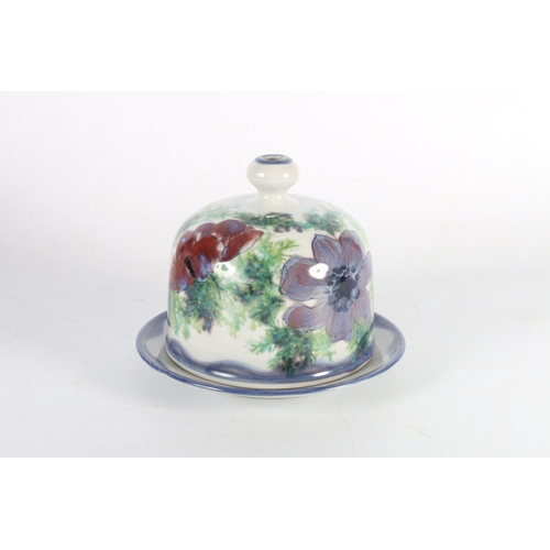 56 - Scottish Pottery Highland Stoneware cheese dome on stand decorated with pansy flower design, backsta...