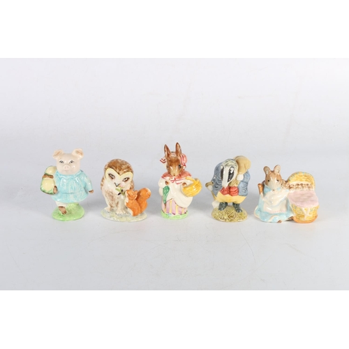 57 - Five Beatrix Potter models to include Little Pig Robinson, Mrs Rabbit, Old Mr Brown, Tommy Brock and...