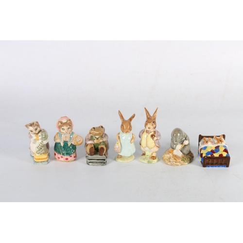 60 - Seven Beatrix Potter models including Benjamin Bunny, Mr Jackson, Diggory Delvet, etc.