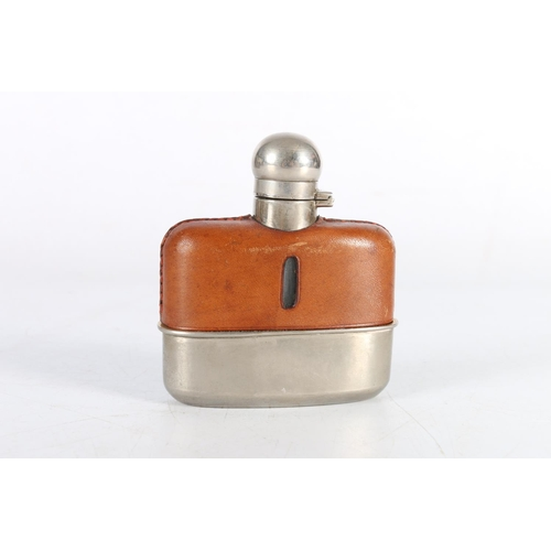 7 - Leather mounted glass hip flask with white metal top, 10cm