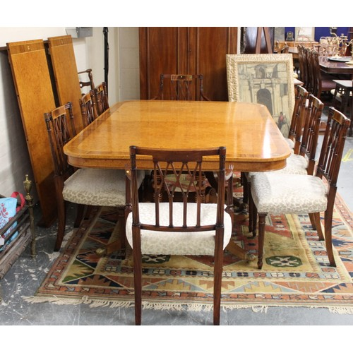 609 - Good quality reproduction dining room suite comprising; a burrwood pedestal dining table with brass ...