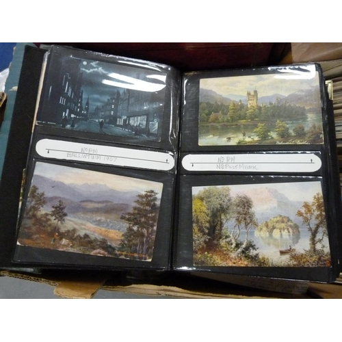 28 - POSTCARDS.Large carton of old postcards, loose & in several albums, topographical, h...