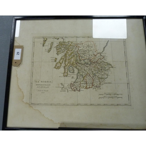 29 - BORGHI A. B.La Scozia Meridionale. Eng. map of Southern Scotland, hand col. in outline. ...