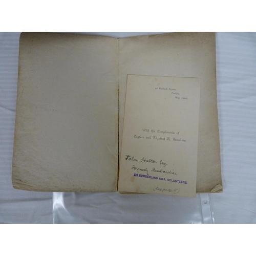 3 - (SAUNDERS R.). History of the 1st Cumberland Royal Garrison Artillery (Volunteers). 56pp. Orig. prn...