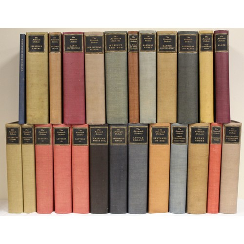 """NONESUCH PRESS.The Nonesuch Dickens.The set of 23 vols. plus orig. steel plate, """"The Knock at the Door"""" by H. K. Browne in solander box & The Nonesuch Dickensiana. Ltd. ed. 877. Illus. Large 8vo. Orig. cloth in various colours with black morocco title labels to backs. Bloomsbury, 1937. (25)"""