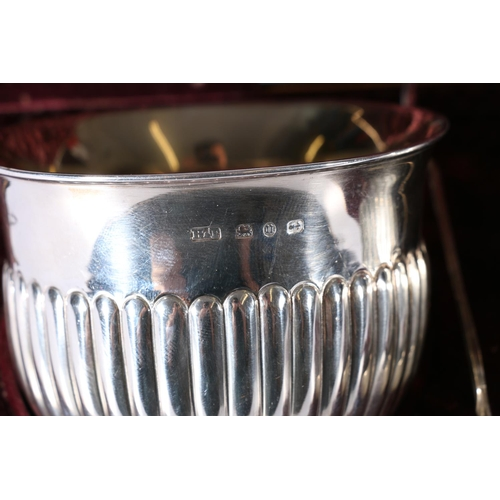 11 - Victorian silver cream jug, sugar bowl and tongs byHilliard & Thomason Birmingham 1894, 160g gr...