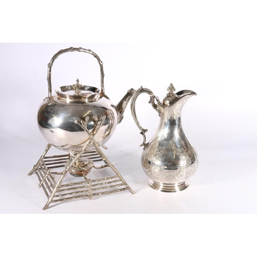 13 - Martin Hall and Co silver plated spirit kettle on stand with rustic branch handle, spout and stand, ...