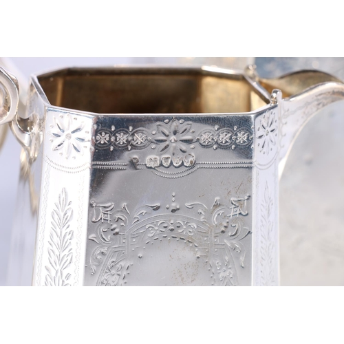 20 - Victorian four piece silver tea set of tapering rectangular form with canted corners and engraved de...