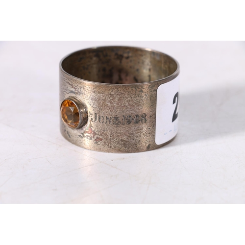 29 - Scottish Provincial silver napkin ring with inset faceted Cairngorm stone, engraved