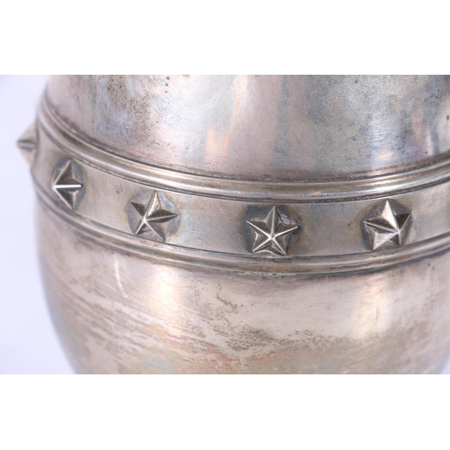 31 - Victorian silver ewer with engraved and relief star design having presentation inscription