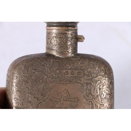 32 - Victorian silver spirit flask with allover foliate decoration by Colen Hewer Cheshire, Birmingham 18...